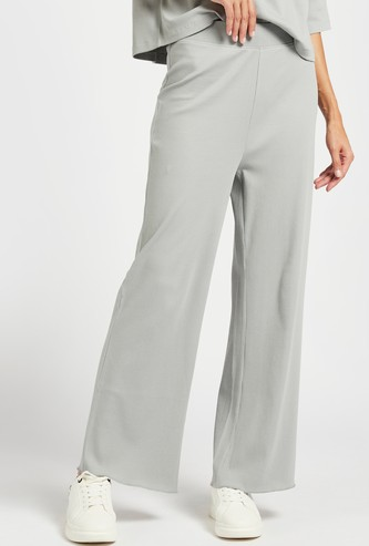 Ribbed Mid-Rise Pants with Elasticised Waistband
