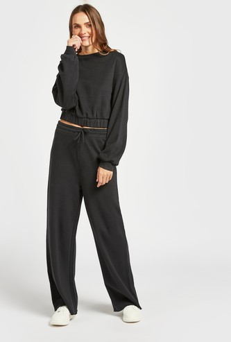 Textured Wide-Leg Pants with Elasticised Waistband and Drawstring
