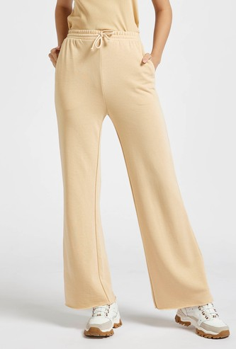 Solid Wide Leg Pants with Pockets and Drawstring