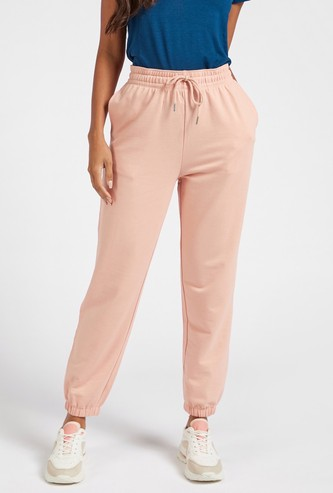 Solid Mid-Rise Full-Length Joggers with Drawstring Closure and Pockets
