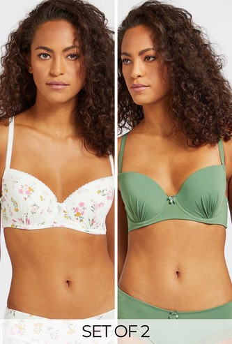 Set of 2 - Assorted Demi Bra with Lace Detailing and Bow Accent