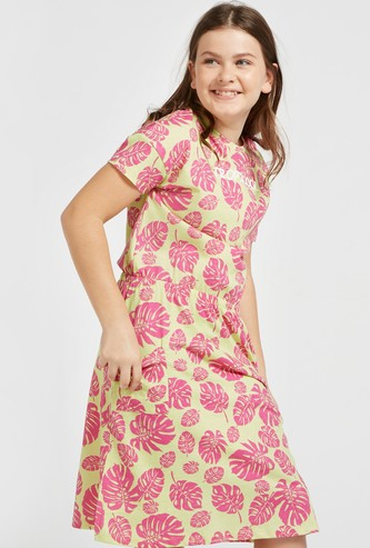 Tropicool Print Dress with Pocket Detail and Short Sleeves