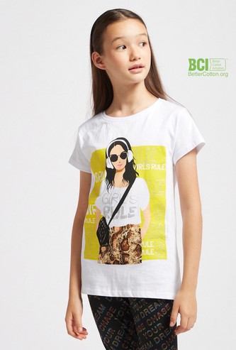 Graphic Print T-shirt with Round Neck and Cap Sleeves