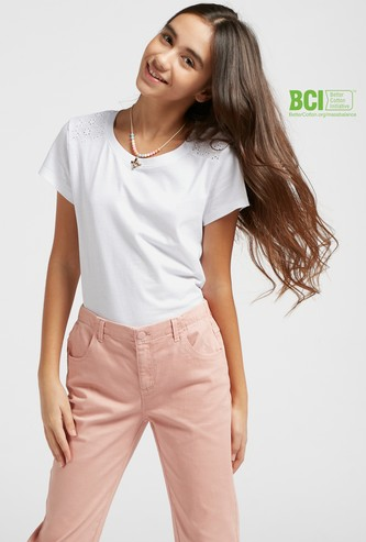 Solid T-shirt with Lace Insert Detail and Short Sleeves