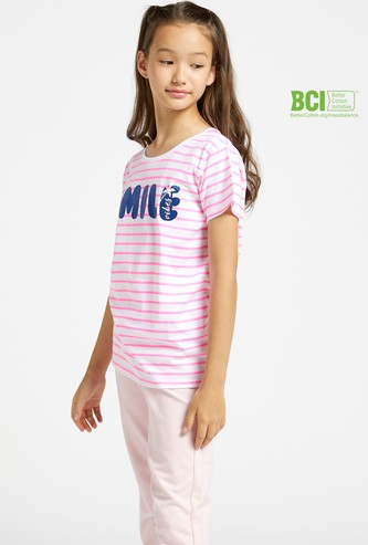 Striped Round Neck T-shirt with Glitter Slogan Print and Short Sleeves