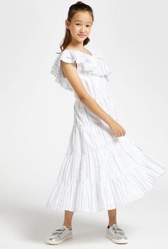 فستان ماكسي مخطط بكشكش