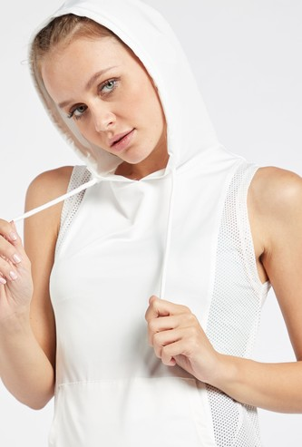 Mesh Detailed Sleeveless Vest with Hood and Mesh Detail