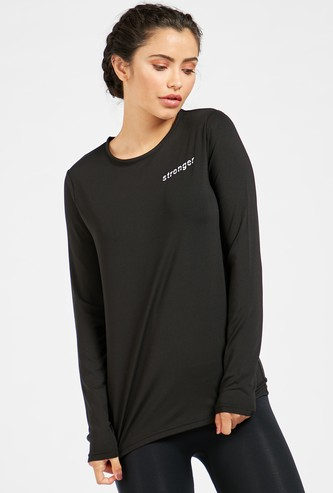 Text Print T-shirt with Round Neck and Long Sleeves