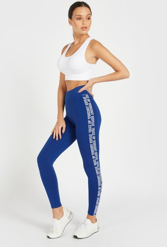 Slim Fit Text Print High-Rise Leggings with Elasticised Waistband