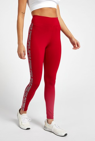 Slim Fit Leggings with Side Tape Print and Elasticised Waistband