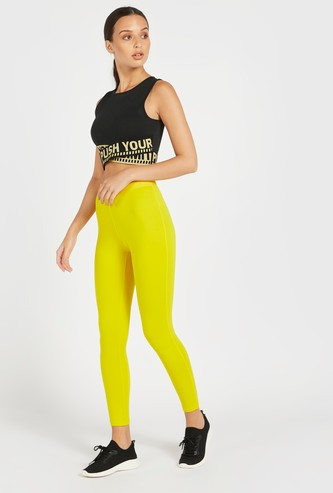 Slim Fit Solid High-Rise Leggings with Text Print Elasticised Waist