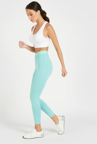Slim Fit Solid 3/4 Length Leggings with Printed Elasticised Waistband