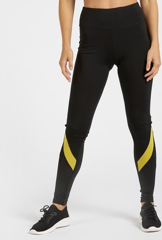 Slim Fit Colour Block Leggings with Perforation Detail