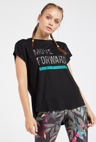 Typographic Print T-shirt with Crew Neck and Extended Sleeves