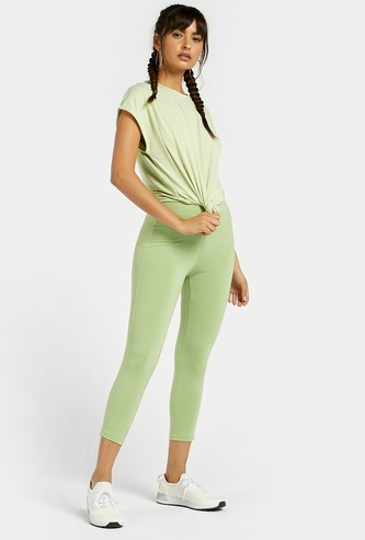 Slim Fit Solid 3/4 Leggings with Mesh Detail and Elasticised Waistband