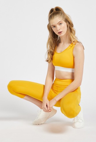 Solid Slim Fit High-Rise 3/4 Leggings with Mesh Detail