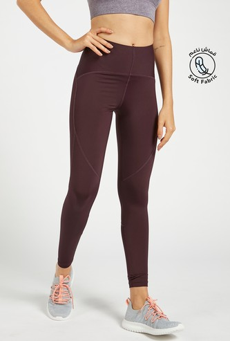Slim Fit High-Rise Compression Leggings with Elasticised Waistband