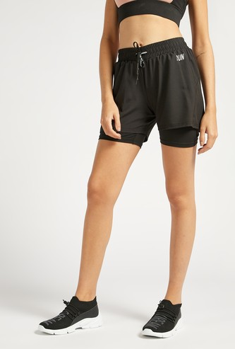 Slim Fit Text Print Double Layered Shorts with Drawstring Closure
