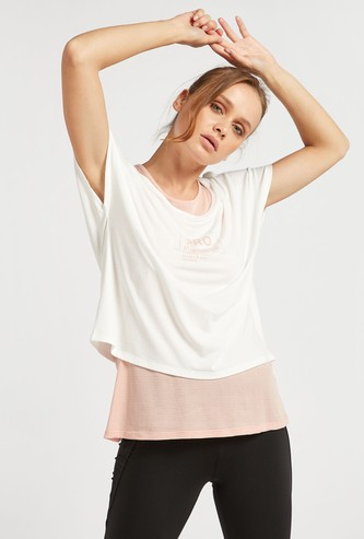 Text Print Double Layered T-shirt with Round Neck and Extended Sleeves