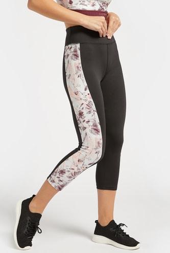 Slim Fit Floral Print Panel Detail High-Rise Capri Leggings