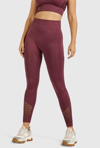Slim Fit Textured Mid-Rise Jacquard Leggings with Elasticised Waist