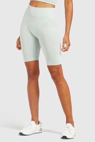 Slim Fit Textured Mid-Rise Cycling Shorts with Elasticised Waistband