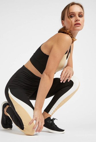 Colour-Block High Rise Full Length Leggings with Elasticated Waistband