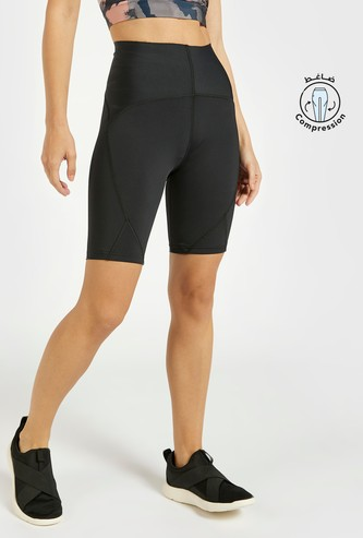 Slim Fit Solid Compression High-Rise Cycling Shorts