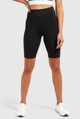 Solid Cycling Shorts with Elasticised Waistband