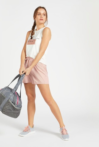 Solid Single Layered Shorts with Drawstring Closure