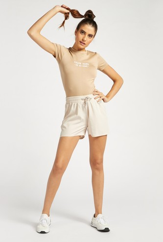 Solid Mid Rise Shorts with Drawstring Closure