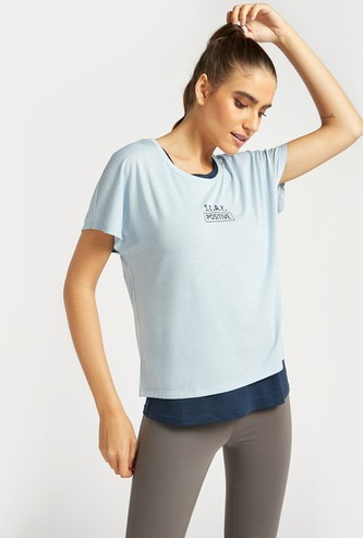 Printed Double Layered T-shirt with Back Detail and Cap Sleeves