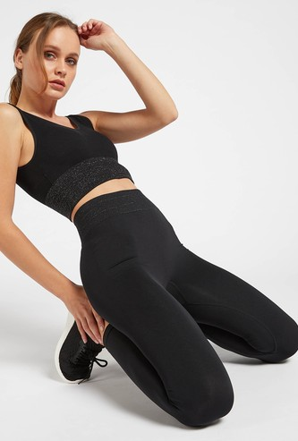 Seamless Mid-Rise Full Length Leggings with Elasticated Waistband