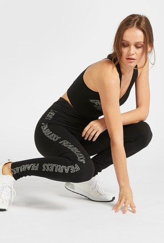 Graphic Print Mid-Rise Slim-Fit Leggings with Elasticised Waistband
