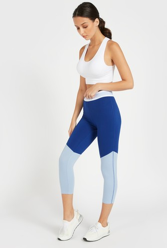 Slim Fit Colour Block Capri Length Leggings with Elasticised Waistband