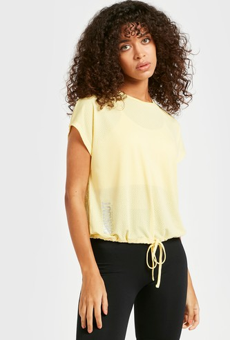 Text Print Mesh Top with Cap Sleeves and Tie-Ups