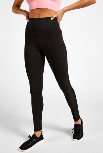 Slim Fit Leggings with Mesh Detail and Elasticised Waistband