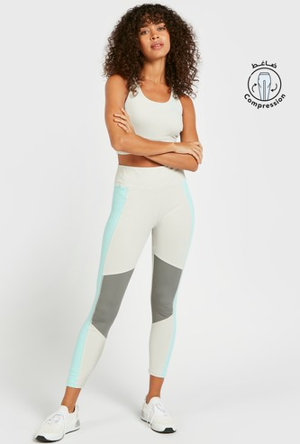 Slim Fit Colourblock Mid-Rise Compression Leggings