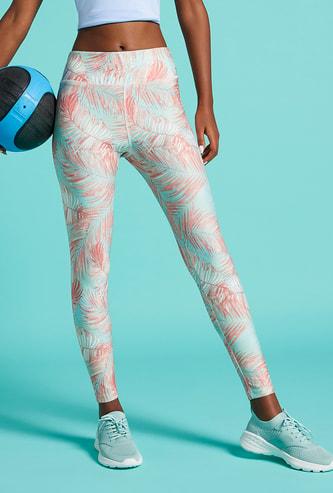 Slim Fit All-Over Tropical Print High-Rise Leggings