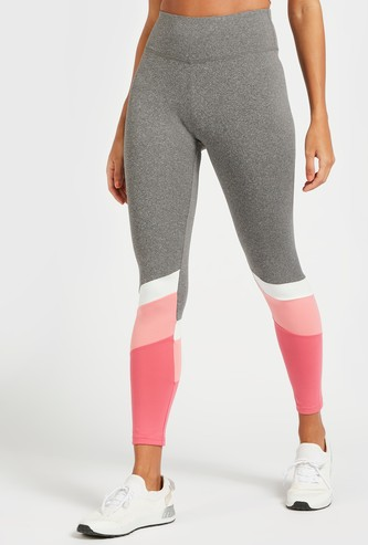 Slim Fit Colourblock Mid-Rise Leggings with Elasticised Waistband