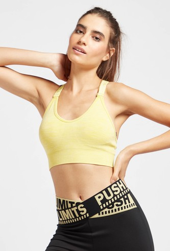 Slim Fit Racerback Medium Support Sports Bra with Printed Straps