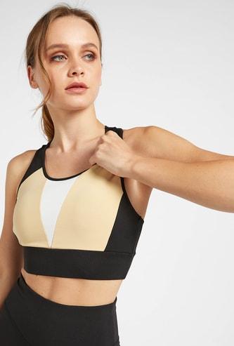 بلوزة قصيرة قوالب ملونة بدعم متوسط مع ظهر ريسر وياقة مستديرة
