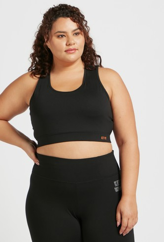 Solid Cut and Sew Sports Bra with Mesh Detailed Back