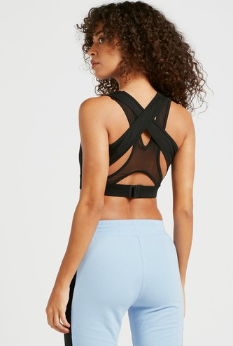 Solid Cut and Sew Medium Support Sports Bra with Mesh Detailed Back