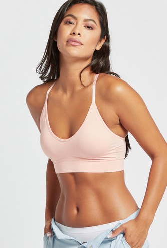 Solid Padded Bra with Lace Detail