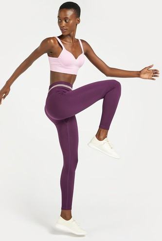 Slim Fit Solid Leggings with Elasticised Waistband and Stripe Detail