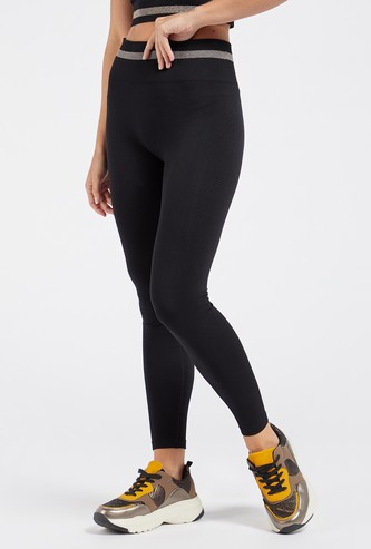 Solid Seamless Leggings with Striped Elasticised Waistband