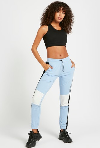 Colour Block Full Length Mid-Rise Joggers with Drawstring Closure