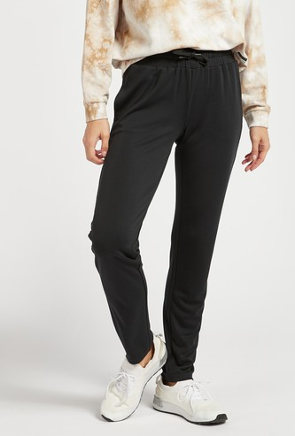 Solid Full Length Mid-Rise Joggers with Drawstring Closure and Pockets