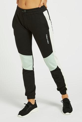 Colourblock Mid-Rise Jog Pants with Pocket Detail